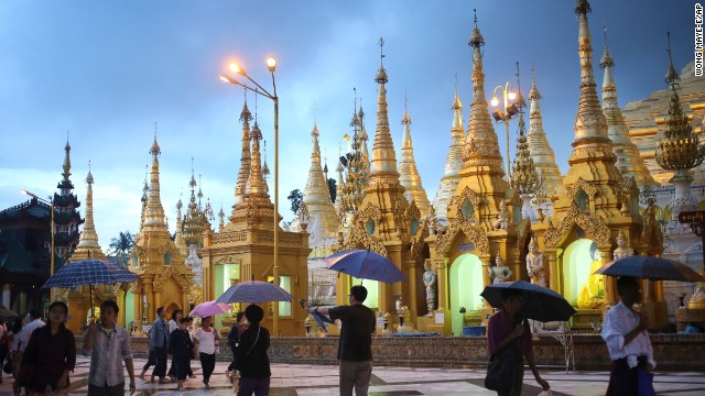 Rainy weather doesn't deter visitors to the Shwedagon Pagoda in Yangon, Myanmar, on August 11.