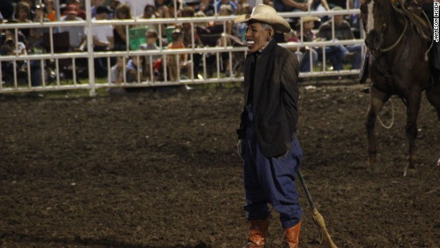 Missouri rodeo clown says act featured Bush, Reagan masks in the past