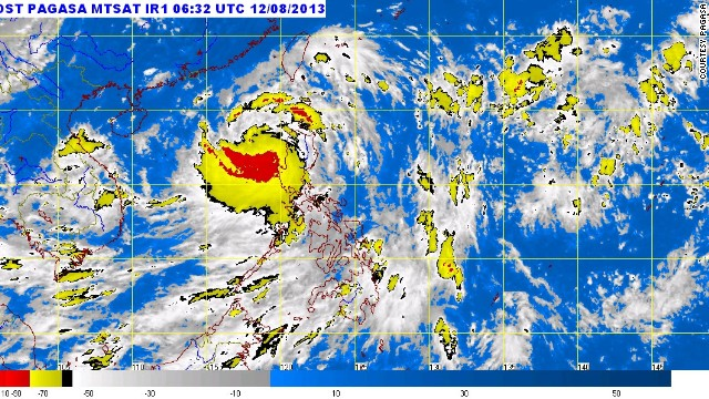 A satellite map shows Typhoon Utor, which is referred to as Labuyo in the Philippines, at 2:32 p.m. local time Monday.