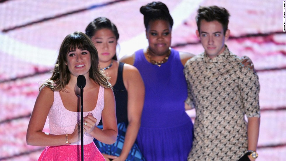 "From left, Lea Michele, Jenna Ushkowitz, Amber Riley and Kevin McHale accept the award for Choice TV Show - Comedy for ""Glee"" during the Teen Choice Awards 2013 in Universal City, California, on Sunday, August 11. Michele <a href='http://popwatch.ew.com/2013/08/11/lea-michele-teen-choice-awards-cory-monteith-video/' target='_blank'>tearfully dedicated the award</a> to her late boyfriend Cory Monteith, who <a href='http://www.cnn.com/2013/07/16/showbiz/glee-star-dead'>died last month</a> of a drug overdose."