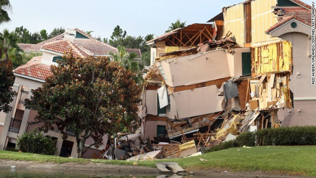 A 60-foot-wide sinkhole formed underneath the Summer Bay Resort in Clermont, Florida, about 10 minutes from Walt Disney World, on August 11. One resort building collapsed, and another slowly sank.