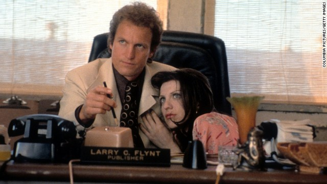 "Woody Harrelson and Courtney Love star in the 1996 film ""The People vs. Larry Flynt"" about the founder of Hustler magazine."