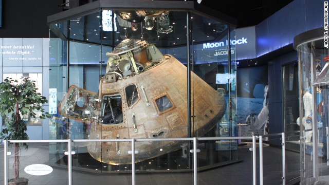 The Apollo 16 command module is on display at the U.S. Space & Rocket Center in Alabama. Adults and children alike can attend space camp there.