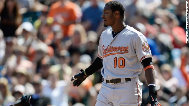 Adam Jones of the Baltimore Orioles gave an angry reaction on Twitter after claiming a fan threw a banana at him in their game against the San Francisco Giants.
