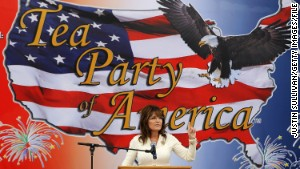 Former Alaska Gov. Sarah Palin speaks to a tea party crowd in Iowa in 2011.