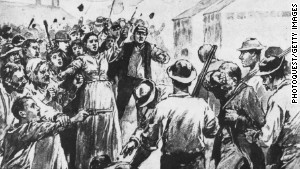 Sketch portraying striking steelworkers clashing with armed detectives in Homestead, Pennsylvania, in 1892.