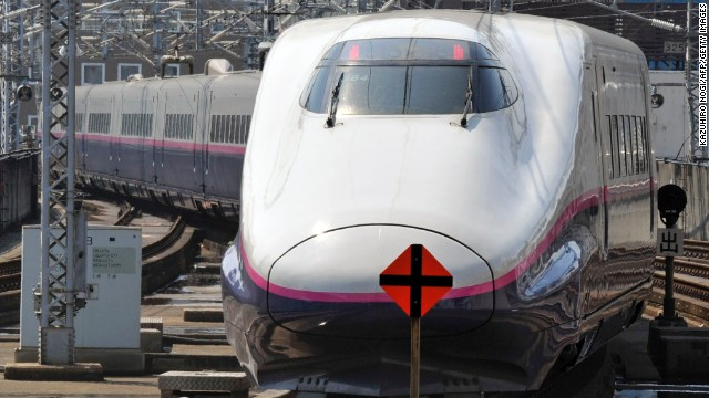 "Japan's famed bullet train, the Shinkansen, is nicknamed the ""Duck-Billed Platypus"" because of the duck-like shape of its nose. This train tops out at about 275 mph."