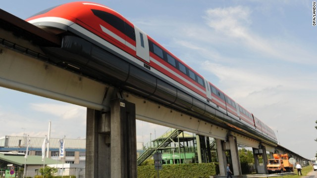 The Transrapid TR 09 mag-lev train, pictured on a test track in Lathen, Germany in 2008, hit a top speed of 279 mph. The German government canceled it, however, due to escalating costs.