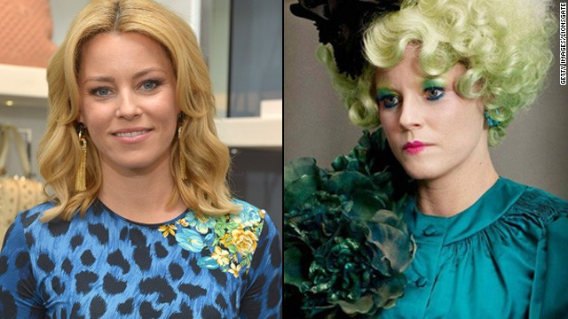 "Elizabeth Banks' comedic timing is as sharp as ever in ""The Hunger Games,"" but her makeup job is a far cry from how we're used to seeing her."