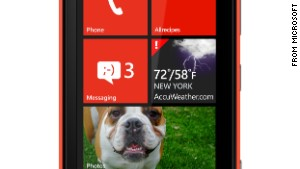 A Windows phone from Nokia displays \