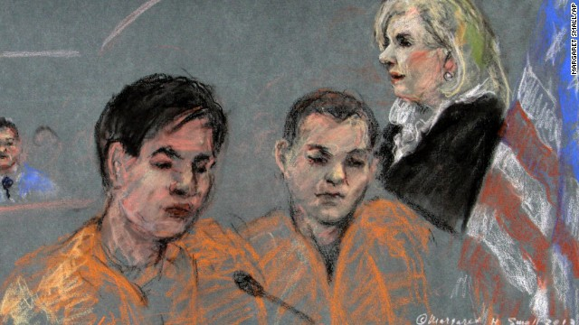 A courtroom sketch shows defendants Dias Kadyrbayev, left, and Azamat Tazhayakov as theyappear before Magistrate Judge Marianne Bowler on Tuesday, August 13, in federal court in Boston.