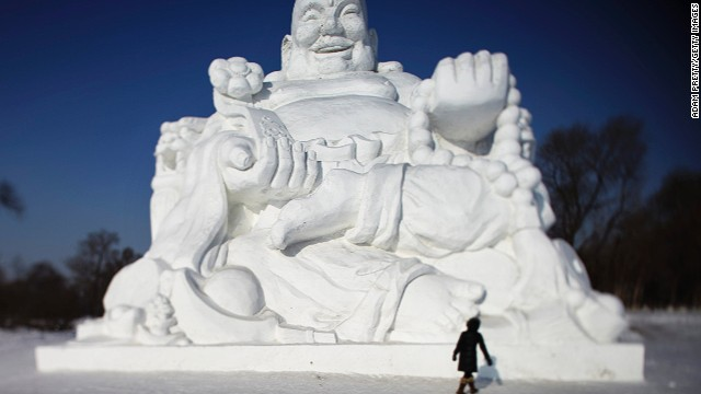 Ice and snow sculptors carve beautiful creations every year at the Harbin International Ice and Snow Sculpture Festival in Harbin, China.