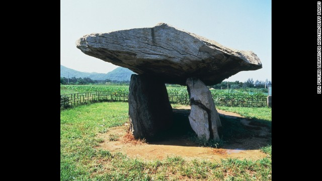 The phenomenon of the dolmen -- a large rock balanced on slightly smaller rocks -- are found all over the world. The largest concentration is on the Korea Peninsula at sites such as <a href='http://whc.unesco.org/en/list/977' target='_blank'>Gochang, Hwasun and the dolmen shown here at Ganghwa</a> in South Korea (circa 2000 BC).