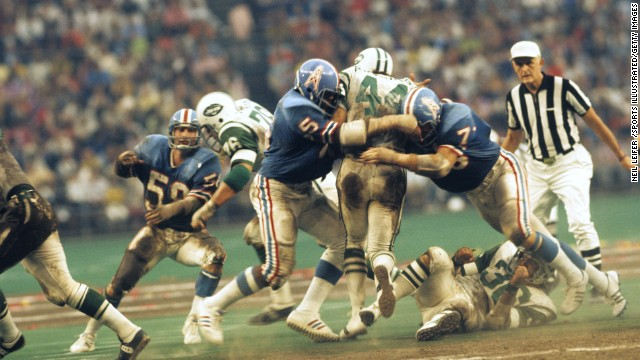 The Astrodome was the home for the Houston Oilers until the team moved to Tennessee following the 1996 season, eventually becoming the Tennessee Titans. Here, the Oilers are in action against the New York Jets in October 1972.
