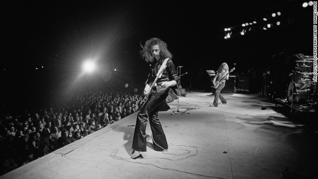 Deep Purple guitarist Ritchie Blackmore and bass player Glenn Hughes in action at the Astrodome in August 1974.