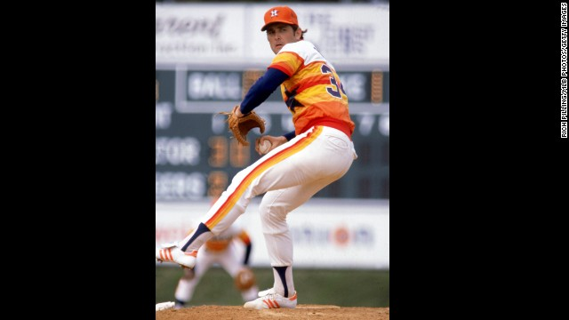 Nolan Ryan of the Houston Astros pitches during a Major League game in 1980. Baseball's all-time strikeout leader, Ryan went on to become the principal owner and CEO of the Texas Rangers.