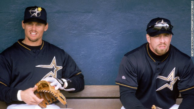 Craig Biggio, left, and Jeff Bagwell of the Houston Astros sit in the dugout during the 1999 season. The Astros played their last game at the Astrodome on October 9, 1999, moving to the new Enron Field, now known as Minute Maid Park.