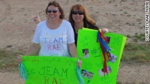 Rae Timme\'s friends came out to support her along her commute.