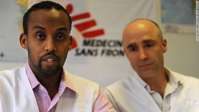 Representatives from Medecins Sans Frontieres (MSF) Yahya Dayihe (left) and Will Robertson on July 19, 2013 in Nairobi, Kenya.