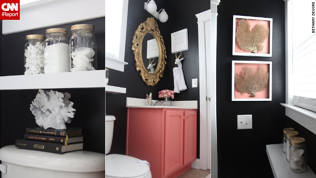 <a href='http://ireport.cnn.com/docs/DOC-1019727'>Bethany DeVore's</a> dramatic <a href='http://www.dwellingsbydevore.com' target='_blank'>black and coral</a> bathroom.