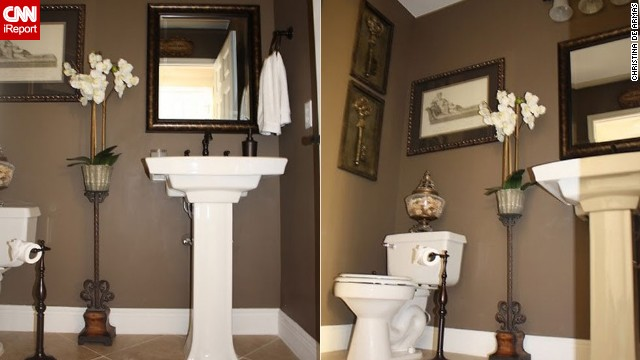 <a href='http://ireport.cnn.com/docs/DOC-1019579'>Christina de Armas'</a> powder room <a href='www.christinadearmasinteriors.com' target='_blank'>retreat</a>.