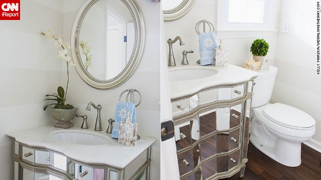 <a href='http://ireport.cnn.com/docs/DOC-1019637'>Kelly Marzka's</a> bright, <a href='http://www.viewalongtheway.com' target='_blank'>on-a-budget</a> powder room.