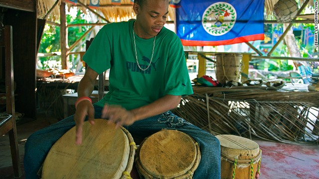 Against a backdrop of pelicans and fishermen at sea, Austin Rodriguez (next photo), 82, and his daughter have kept the drum-making tradition alive for close to 30 years.