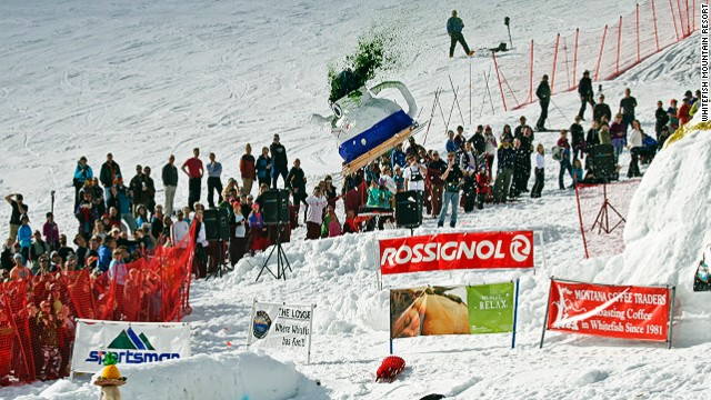 Staff of the Whitefish Mountain Resort in Montana get a bit goofy towards the end of the ski season, and hold an event whereby they hurl homemade dummies down the mountain on skis.