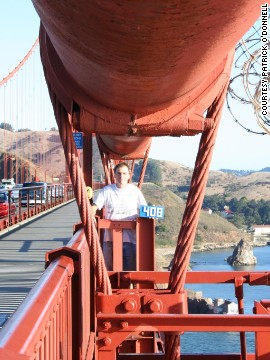 O'Donnell enjoys a visit to San Francisco's Golden Gate Bridge. Height: 220 feet (67 meters) above the water,<a href='http://goldengatebridge.org/research/factsGGBDesign.php' target='_blank'> according to the bridge website.</a>