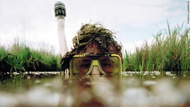 At the World Bogsnorkelling Championships in Llanwrtyd Wells, Wales, participants brave leeches and scorpions while swimming through a muddy peat bog.