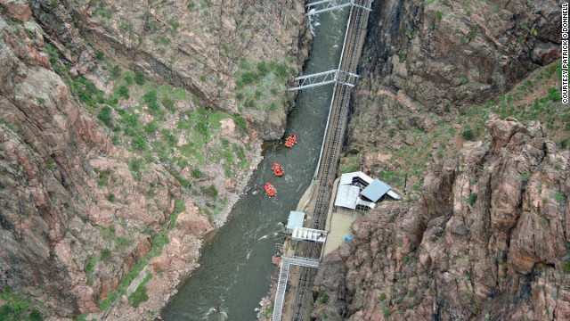 "Drivers are required to cruise across the Royal Gorge Bridge, suspended above <a href='http://parks.state.co.us/Parks/ArkansasHeadwaters/Pages/ArkansasHeadwatersHome.aspx' target='_blank'>a canyon cut by the Arkansas River</a>, at just 5 mph. Even at that speed, ""the bridge moves and shakes,"" Sakoswski says. ""It's scary because of the wood planks. You get the feeling that one of them might give way and the car will get stuck there."""