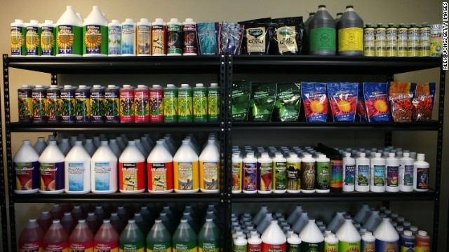 Nutrient products are placed on shelves in the weGrow marijuana cultivation supply store during its grand opening on March 30, 2012, in Washington, D.C. The store is a one-stop-shop for supplies and training to grow p