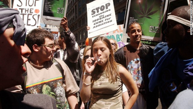 People in New York gather for a pro-cannabis rally on May 4, 2002. That same day, almost 200 similar events took place around the world to advocate for marijuana legalization. It was dubbed the