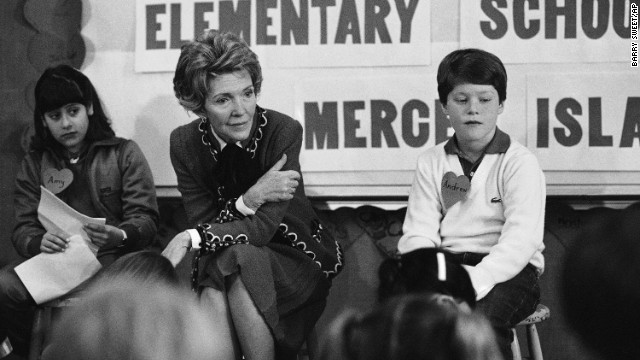 "First lady Nancy Reagan participates in a drug education class at Island Park Elementary School on Mercer Island, Washington, on February 14, 1984. She later recalled, ""A little girl raised her hand and said, 'Mrs. Reagan, what do you do if somebody offers you drugs?' And I said, 'Well, you just say no.' And there it was born."" She became known for her involvement in the ""Just Say No"" campaign."
