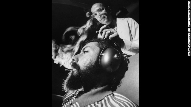 Research scientist Dr. Reese T. Jones, right, adjusts the electrodes monitoring a volunteer's brain response to sound during an experiment in 1969 that used a controlled dosage of marijuana. The tests were conducted at the Langley Porter Institute at the University of California, San Francisco.