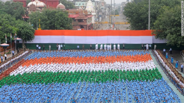 Schoolchildren participate in celebrations at the Red Fort in New Delhi.