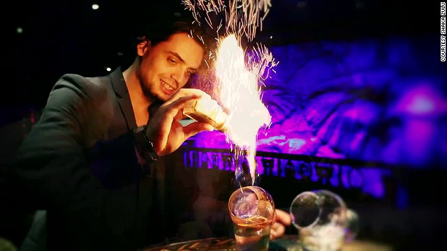 The Rum Blazer requires the mixologist to set whisky a blaze and throw the flaming liquid between two silver tankards.