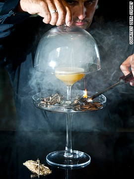 "Gin is infused with ""gunpowder flavors"" and shaken with fernet branca (a traditional herbal digestive) and egg white."