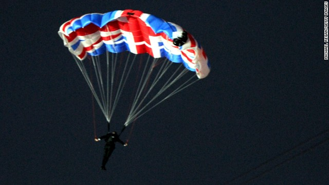 Mark Sutton as James Bond parachutes out of a helicopter during the Opening Ceremony of the London 2012 Olympic Games.