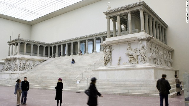 The Pergamon Altar, in the Berlin museum named after it, cows visitors with its size -- then draws them in with its astonishingly detailed friezes.
