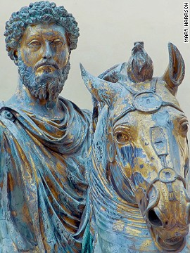 Most people think of Rome's greatest treasures as being outdoors but one expert draws attention to this all-bronze statue of a mounted Marcus Aurelius, in the Capitoline Museum. Remarkably, it has survived intact since the height of the Roman Empire.