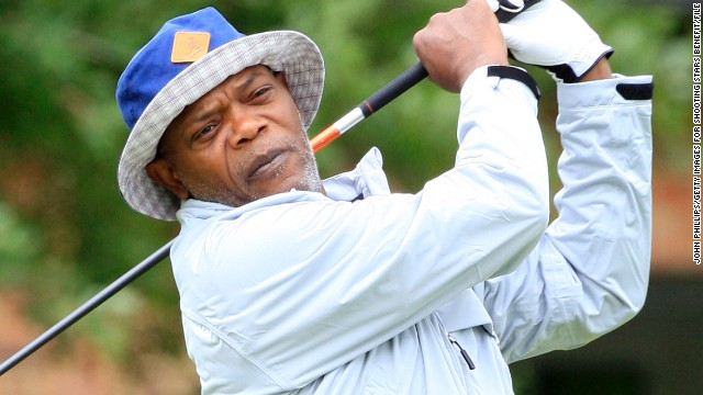 Samuel L. Jackson plays a tee shot during the Shooting Stars charity event at England's The Grove Hotel course in June 2013.
