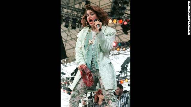 "The ""Material Girl"" performs to a sold-out crowd during the Live Aid concert in Philadelphia on July 13, 1985."