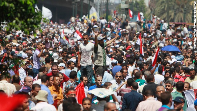 Morsy supporters demonstrate outside Al-Fateh mosque in Ramses Square in Cairo on August 16.