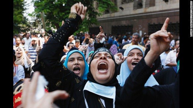 Protesters demonstrate near Ennour mosque in Cairo on August 16.