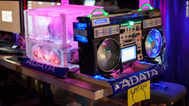"Speaking of keeping cool, this ice block (made from plastic and chilled water) provides a nice visual representation of ""cool,"" as does an old-school boom box ready to provide a gamer's soundtrack."