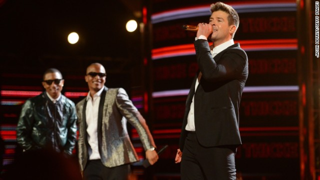 Pharrell Williams, T.I. and Robin Thicke performed on the hit track