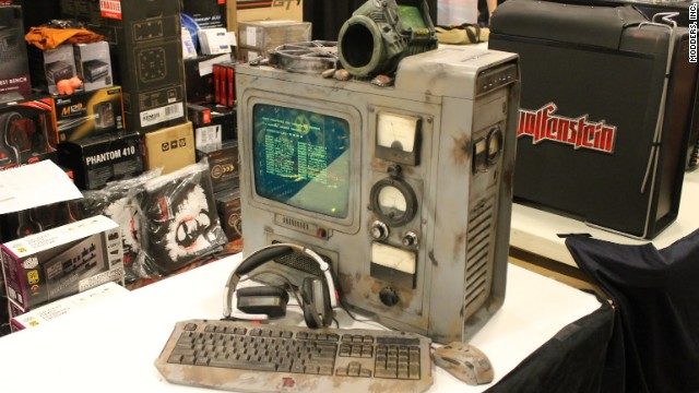 "Modders Inc., the sponsors of a contest for the best modified computers, showed off what was possible with a display incorporating imagery from the game ""Fallout."""