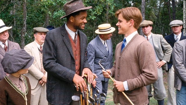 The Legend of Bagger Vance, released in 2000, starred Will Smith (left) in the title role as caddy to Matt Damon's character (right).
