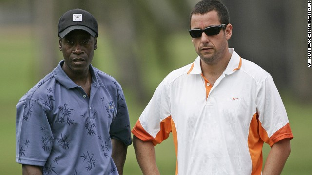 Adam Sandler (right, with fellow actor Don Cheadle at a PGA Tour pro-am event) will always be remembered in golfing circles for the 1996 film Happy Gilmore. He played a failed ice hockey player who changes careers -- with maverick moves copied by real-life hackers around the globe.